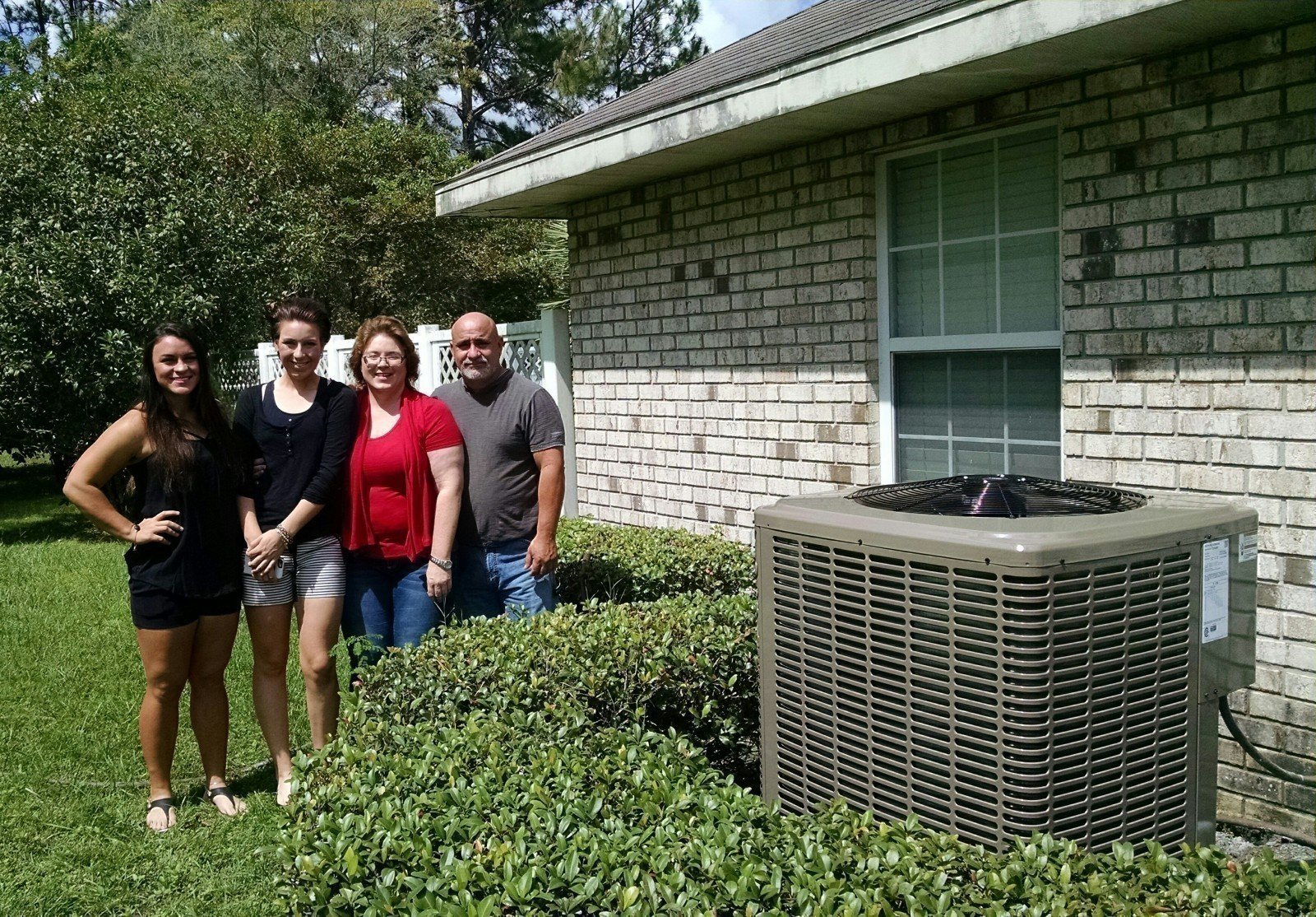 The Gomez family with a new 15 seer York heat pump system